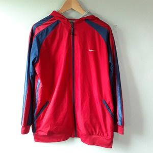 Nike Red Blue Hooded Lightweight Track Jacket XL